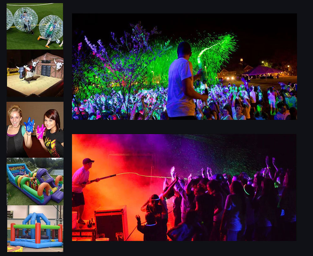 Collage of Images of Glozone Parties, Foam Pits, and Other Provided Services